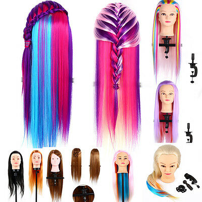 Colorful Salon Hairdressing Long Hair Mannequin Doll Practice Head+Clamp J
