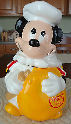 VINTAGE Disney MICKEY MOUSE COOKIE JAR With Flour Sack Hoan LTD NEW Without Box