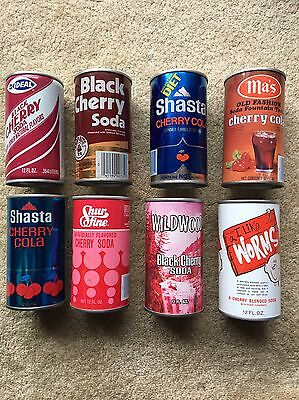 Cherry & Black Cherry Soda Cans - 8 Different