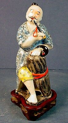 "Vintage Chinese Polychrome Enamel Porcelain ""Man With Pipe"" Figurine"