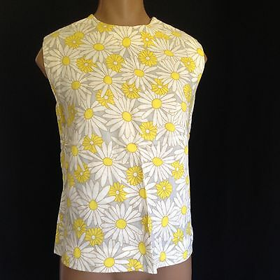 True VTG 60's Handmade Yellow Cotton Floral Sleeveless Crop Top Blouse Size L