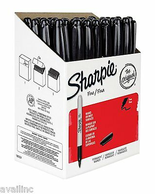Sharpie Permanent Markers, Fine Point, Black, Box of 36