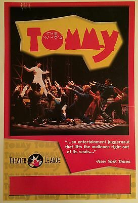 THE WHO'S TOMMY 1993 Broadway Musical Blank Window Card Poster