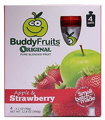 24 Ct Buddy Fruits Pure Blended Apple Strawberry Baby Food Pouches Travel 3.2 Oz