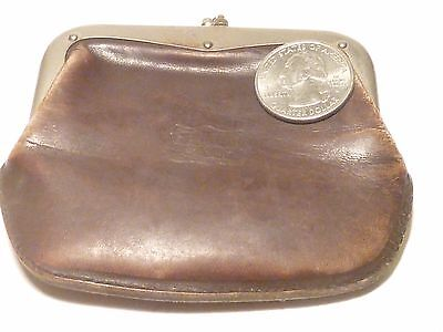 Vintage 2-Section Genuine Calf Leather Coin Purse