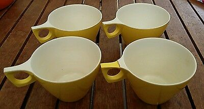 Vintage yellow / white Ornamin Ware Melmac cups x 4