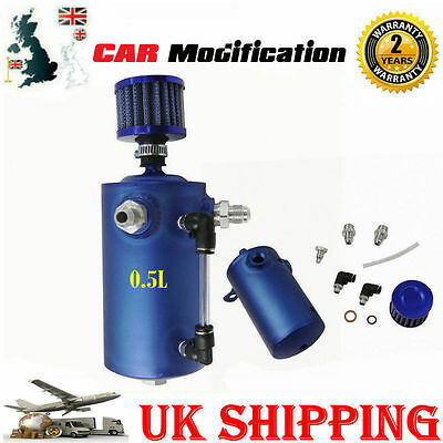 HOT 0.5L Alloy Car Racing Engine Oil Catch Tank Can Reservoir Breather & Filter