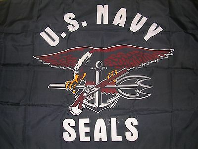UNITED STATES NAVY SEALS FLAG BANNER  3' x 5' slightly used