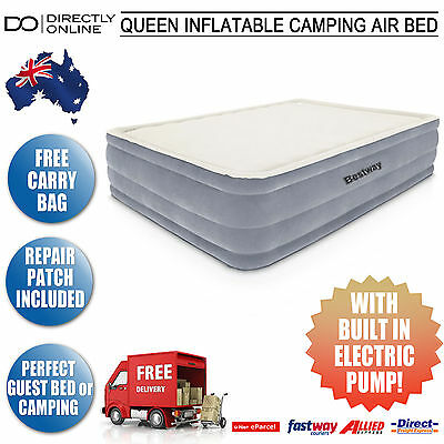 Queen Inflatable Camping Air Bed Sleeping Travel Mattress Electric Built In Pump