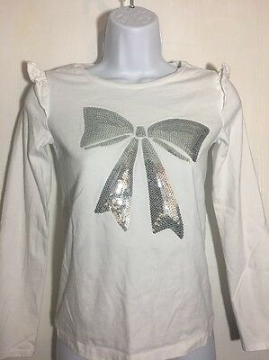 Gymboree Girls T Shirt Top Ruffle Sleeve BLING Sequin Bow  ~ Size 12