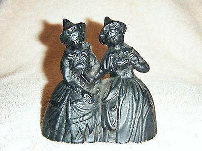 Rare! VINTAGE LADIES/SISTERS CAST IRON DOUBLE BELL