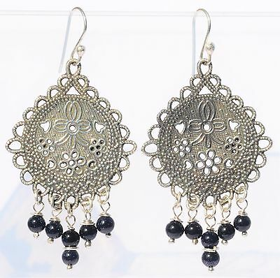 Taxco Mexican Sterling Silver Dangle Earrings Frida Kahlo Style Design Jewelry