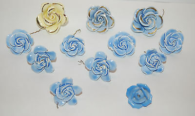12 Vintage Shabby Blue / Yellow Porcelain Bisque Roses/ Flowers Chandelier Drops