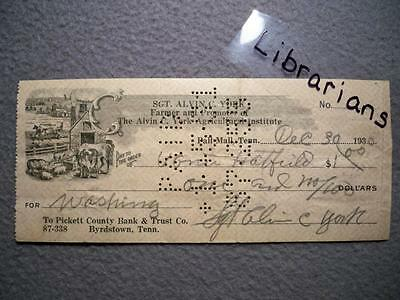 Vintage Rare Wwi Moh Hero Sgt. Alvin C. York 1930 Autographed Hand Signed Check