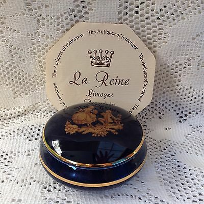 New Limoges Cobalt Blue Courting Couple Porcelain Trinket Jewellery Box