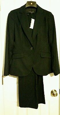 NWT New York & Company womans suit size 2 blazer and 4P petite pants navy blue