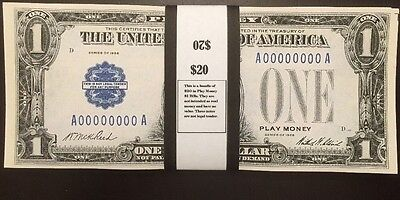 $20 In 1928 Play Money $1 Bills Silver Certificate USA Prop Money Actual Size