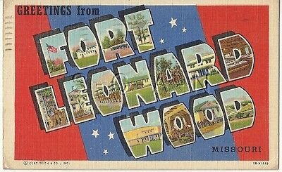WWII Original 1940s Linen Army PC- Large Letters- Greetings From Ft. Leonardwood
