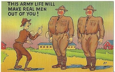 WWII Original 1940s Linen Army Comic PC- Army Life will Make Real Men Out Of You
