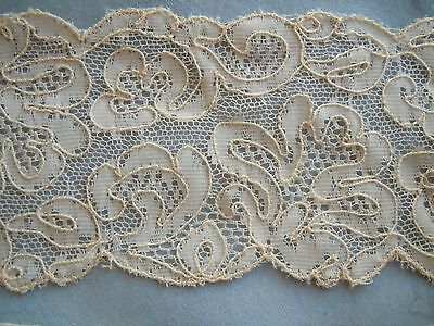 """1-5/8 Yards-Antique Dated 1904-French Lace-Scalloped Edges-Floral Design-2-1/2"""""""