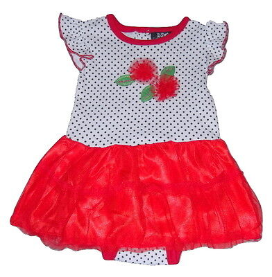 Baby Girls Outfit Size 6-9 Months Red White Polka Dot Tutu Flower Cotton New