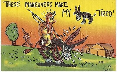WWII Original 1940s Linen Army Comic PC- Donkey- Maneuvers make my....Tired!