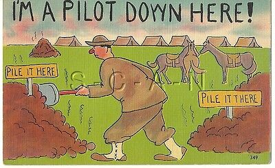 WWII Original 1940s Linen Army Comic PC- Horse Crap- I'm a Pilot Down Here!