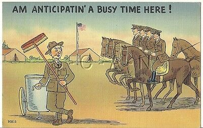WWII Original 1940s Linen Army Comic PC- Horse- Anticipating a Busy time Here!