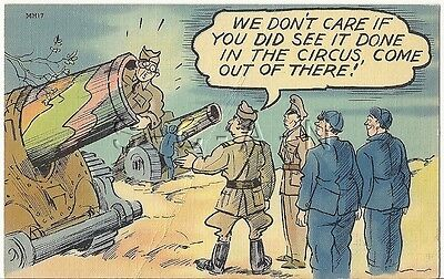 WWII Original 1940s Linen Army Comic PC- Field Artillery Cannon- Gun- Circus