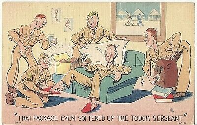 WWII Org 1940s Linen Army Comic PC- That Package even Softened Up the Sergeant