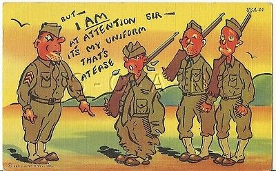 WWII Original 40s Linen Army Comic PC- I am at Attention! My Uniform is at Ease
