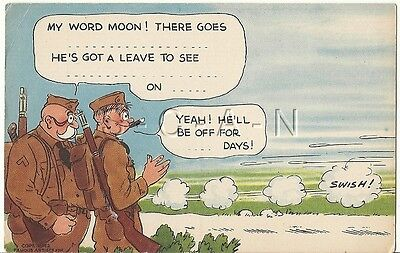 WWII Original 1940s Linen Army Comic PC- Cartoon Moon Mullins- Fill in the Blank