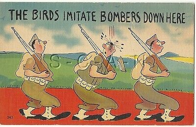 WWII Original 1940s Linen Army Comic PC- The Birds Imitate Bomber Down Here