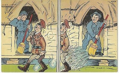 WWII Original 1940s Linen Army Comic PC- Salutes Officer- Sweeps Water on Him