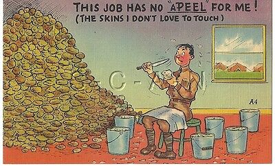 WWII Original 1940s Linen Army Comic PC- KP Duty- Peel Potatoes- Apeel for Me!