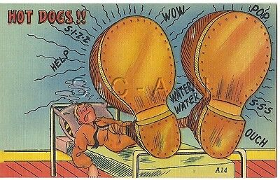 WWII Original 1940s Linen Army Comic PC- Exaggerated Feet- Boots- Hot Dogs!