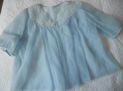 Vintage 1960's Schranks Tailored Australia Pin Up Sheer Blue Nylon Bedjacket 36""