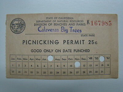 State of California Calaveras Big Trees State Park Picnicking Permit 1951