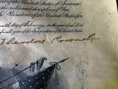 !!!US Military Commission  Signed THEODORE ROOSEVELT SECY OF WAR ROOT!