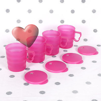 NEW Tupperware 4 x Mugs in Pink with seals 350ml Expressions