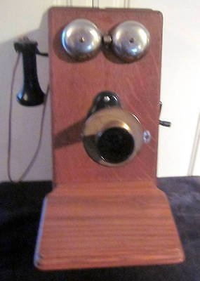 Antique Vintage Western Electric Wall Mount Wood Hand Crank Telephone