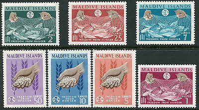 MALDIVES ~ #117 - 123 Beautiful Mint Never Hinged Set FREEDOM FROM HUNGER  S5472