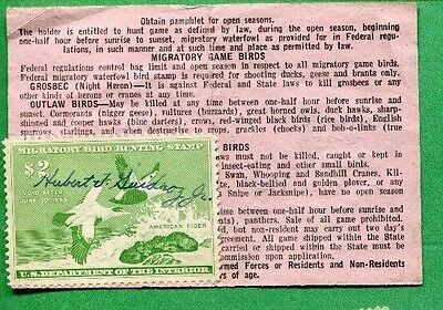 LOUISIANA 1957 Resident Hunting License RW24 Federal Duck Stamp - 439