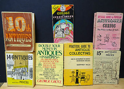 Lot of 7 Vintage Antique & Collectibles Price Guides and Help Books