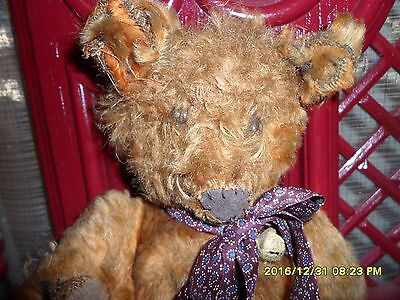 "Early French 10"" Straw Stuffed Red-Brown Bear With Metal Shoe Button Eyes"