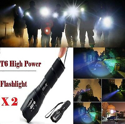 2 X Zoomable XML-T6 3000Lumen Ultra 6000k LED Flashlight Focus Torch Light Lamp