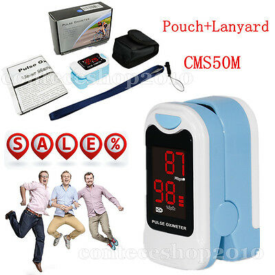 With Case Finger Pulse Oximeter LED SpO2 Blood Oxygen PR Heart Rate Oxymeter