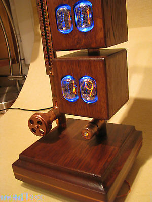 Monjibox Nixie Display Dual Clock Thermometer Robot IN12 IN13 tubes steampunk