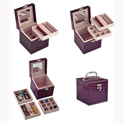 Pu Leather Mirror Jewelry Box Storage Earring Necklace Organizer Case Purple New