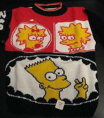 Wow! VINTAGE SIMPSONS KIDS SWEATER! INCREDIBLE! (Kids Med) SUPER RARE! NWT/MINT!